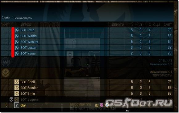 Игра с ботами в CS:GO